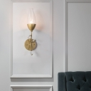 1/2-Bulb Teardrop Glass Shade Wall Mount Lamp Vintage Flush Mount Wall Sconce in Gold