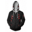 Hot Game Cosplay Costume 3D Digital Print Long Sleeve Black Drawstring Hoodie
