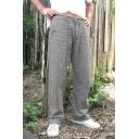 Simple Drawstring Waist Plain Loose Straight Leg Pants with Pocket for Men