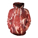 Raw Meat 3D Printed Long Sleeve Drawstring Hoodie with Pocket