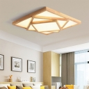 Warm/White/Natural Light Square Ceiling Flush Acrylic Modern LED Ceiling Mounted Fixture in Wood, 19