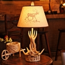 Country Style Tapered Table Lamp with Antler Accents 1 Light Beige Fabric Shade Table Light