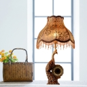 Country Scalloped Table Light with Brown/Gold Peacock and Clock 1-Light Fabric Standing Table Light for Living Room