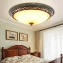 Traditional Dome Flush Lighting Amber Handblown Glass 13.5