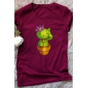 Girls Creative Cactus Cat Pattern Short Sleeve Round Neck Leisure Tee Top
