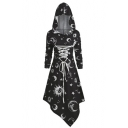 Gothic Style Sun Moon Print Lace Up Front Asymmetric Hem Slim Fit Hooded Dress