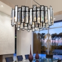 Black Heart Hanging Ceiling Light Modernism Metal 6 Bulbs Pendant Lamp with Clear Crystal Block
