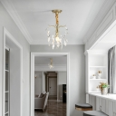 1 Light Mini Hanging Pendant Light Contemporary Clear Crystal Drop Ceiling Light in Gold