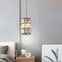 Modern Cylindrical Pendant Light Clear Faceted Crystal 1 Light Indoor Lighting Fixture for Bedroom