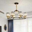 4/6/8 Heads Drum Chandelier Modernism Clear Crystal Prisms Hanging Lamp in Brass with Black Metal Ring