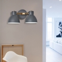 Double Shade Metallic Wall Sconce Lighting Nordic 2 Bulbs Gray/Green Wall Mounted Lamp for Living Room
