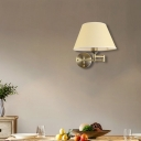 Swing Arm Paper Wall Mount Lamp with Shade Modern 1 Light White/Beige Sconce Light Fixture for Living Room