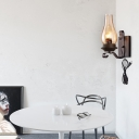 1 Light Candle Wall Sconce Light Cognac Glass Vintage Plug In Wall Lighting in Black for Corridor