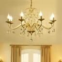 Gold Candle Chandelier Lamp Mid-Century Metal 3/6/8 Light Chandelier Pendant Light for Living Room
