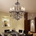 Smoke Grey Drop Hanging Chandelier Modern 3/5 Light Crystal Hanging Light for Foyer
