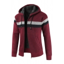Colorblocked Stripe Long Sleeve Zip Up Hooded Thick Cardigan Coat with Pocket