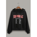 Fancy Letter SHOPAHOLIC Printed Long Sleeve Black Hooded Loose Hoodie for Women