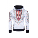 Men Vintage Long Sleeve Colorful Tribal Printed Hooded Hoodie