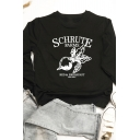 Letter SCHRUTE FARMS BEDBREAKFAST Printed Long Sleeve Loose Fit Pullover Sweatshirt