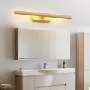 Wood Grain Tube Wall Sconce Light Rotatable Nordic Led Vanity Mirror Light