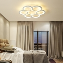 White Flower Semi Flush Lighting Contemporary Led Semi Flushmount Light with Round Canopy