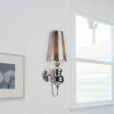 Cone Wall Sconce Light with Fabric/Plastic Shade Vintage 1 Light Wall Lighting in Black/Gold/Silver/White