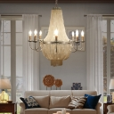 Silver Empire Chandelier Lighting with Candle Rustic Loft Shell 8 Lights Hanging Ceiling Light