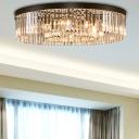 Contemporary Black LED Flush Mount Light Drum Shape 4/6/8 Lights Clear Crystal Ceiling Lamp for Bedroom