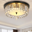 Contemporary Drum Flush Ceiling Light Acrylic 5 Lights Black LED Ceiling Lamp for Balcony Restaurant
