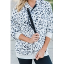 New Stylish Leopard Pattern Patchwork Long Sleeves White Fluffy Hoodie