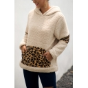 Stylish Winter Warm Faux Fur Teddy Leopard Printed Patchwork Long Sleeves Hoodie With Pocket