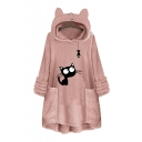 Cute Cat Print Long Sleeves Ear Hooded Warm Fluffy Teddy Longline Hoodie