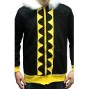Men's Winter Fashionable Leisure Print Long Sleeve Fur-Trimmed Black Hoodie Coat