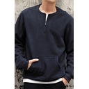 Men's Simple Plain Long Sleeve Casual Loose Pullover Sweatshirt