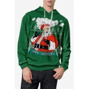 Mens New Fashion Green Christmas Claus Printed Long Sleeve Casual Hoodie