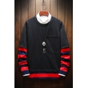 New Stylish Striped Patch Print Lapel Collared Long Sleeve Fake Two-Piece Sweatshirt with Big Pocket