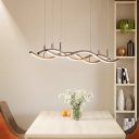 3 Lights Linear Chandelier Light with Wave Design Modernism Metal Ceiling Pendant in Brown
