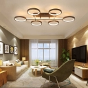 4/6 Ring Semi Flush Light Contemporary Metal Led Brown Semi Flush Mount Light