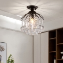 Crystal Ball Flush Mount Ceiling Light for Hallway, Black 1 Light Ceiling Light Fixtures