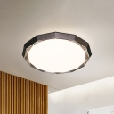 Brown Round Flush Mount Lighting with Frosted Diffuser Modern Metal Shade Ceiling Flush Light, 16