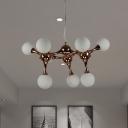 Rose Gold Sputnik Chandelier with Orb Opal Glass Shade 9/15 Lights Post Modern Pendant Lamp