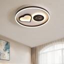 White/Brown Round Flush Lighting Modern Metal Led Indoor Ceiling Flush Light in Warm/White for Living Room