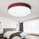 Dark Red Drum Ceiling Light Fixture Minimalism Metal Flush Ceiling Light in Warm/White Light, 12