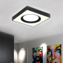 Acrylic Square Ceiling Mount Light Modern LED Flush Light in Black and White for Cloth Sop