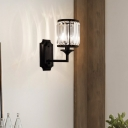 Black Drum Wall Light 1 Light Contemporary Crystal and Metal Wall Lamp for Stair Bathroom