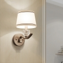 Contemporary Nickle Wall Sconce Light with Drum Fabric Shade 1 Head Metal Sconce Light for Bathroom