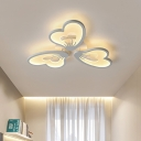 3/5 Lights Petal Flush Mount Ceiling Light Modern Metallic White Flush Lighting in Warm/White with Acrylic Diffuser