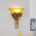 Loft Style Blue/Gold Bouquet Wall Mounted Lighting 1 Light Living Room Wall Light with Amber Glass Shade