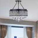 Crystal Trellis Cage Lighting Fixture Modern Metal 4 Light Ceiling Light Fixture in Black for Living Room
