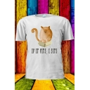 Cute Cat Letter IF IT FITS I SITS Print Short Sleeve Leisure T-Shirt